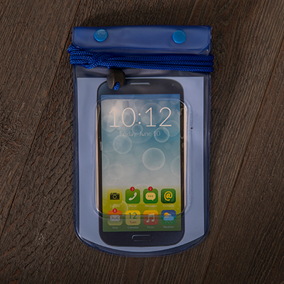 SMOOTH TRIP<sup>&reg;</sup> Waterproof Bag - Protect your phone, camera, and electronics with this waterproof bag.  Features include a double seal, which folds down with 2 snap closures, welded seams, clear-view windows for touch screen access, and adjustable neck cord.